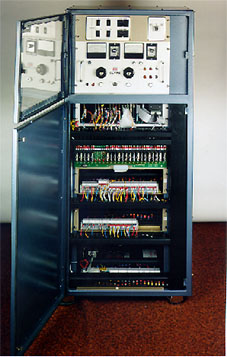 Stator test machine control and instrumentation panel.